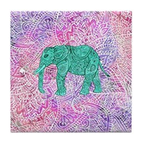 CafePress - Teal Tribal Paisley Elephant Purple H - Fliesenuntersetzer, Untersetzer, Kleiner Untersetzer (Teal Party Purple Und)