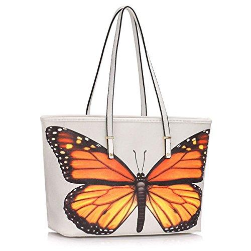 Xardi London, borsa a spalla, da donna, grande, in ecopelle, da viaggio White Butterfly