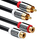 deleyCON Cable alargador de 1m Cinch RCA cable de audio estéreo de 2 Cinch (macho) a 2 Cinch (hembra) Conectores de metal chapados en oro - Negro