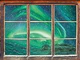 Stil.Zeit Northern Lights Plus Islande Art Effet de Crayon Fenêtre en 3D Look, Mur ou Format Vignette de la Porte: 62x42cm, Stickers muraux, Sticker Mural, décoration Murale