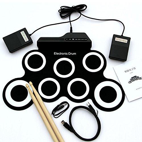 Forfar Elektronische Roll Up MIDI Drum Kit mit integrierten Lautsprechern, Fußpedale, Trommelstöcke, für Kinder Kinder Weiß