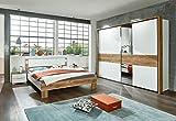 lifestyle4living Schlafzimmer, Schlafzimmermöbel, Komplettset, Bett, Schrank, Kleiderschrank, Schwebetürenschrank, 2 Nachtschränke, Plankeneiche, alpinweiß, Weiss