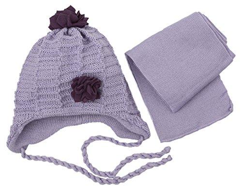 Baby Mädchen Winter Mütze mit Schal CZ035 (Lila, 46-48) (Lustige Kinder-wintermütze)