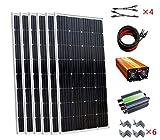 24V 900W Komplett Off Grid PV Solar System: 6150W Monokristallines Platten und 45A Solar Charge Controller & 24V auf 220V 1500W Off Grid Wechselrichter für Ladekabel 24V Akku