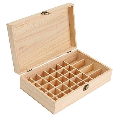KING DO WAY Boite de Stockage dHuile Essentielle Rangement Coffret en Bois avec 34 Casiers (15-30ml)
