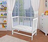 WALDIN Baby Beistellbett mit Matratze,4te Seite abnehmbar, höhen-verstellbar, 2 Modelle wählbar,Buche Massiv-Holz weiß lackiert