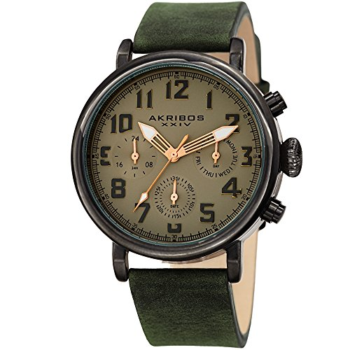 Akribos XXIV Men's AK1028GN Multifunction Gun & Olive Green Leather Strap Watch Powered Sub-box