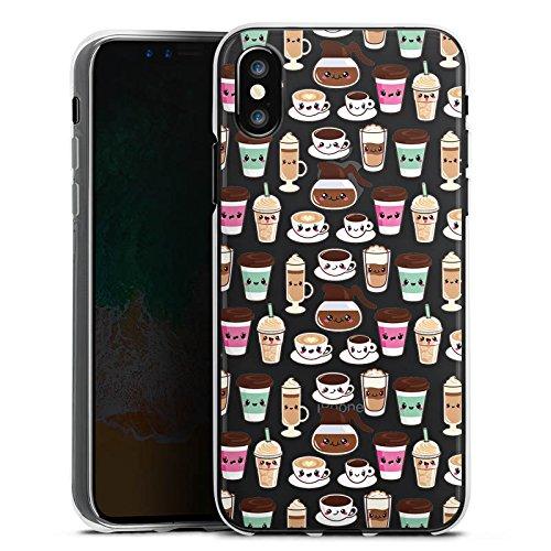 Apple iPhone X Silikon Hülle Case Schutzhülle Kaffee Transparent mit Muster Kawaii Manga Style Silikon Case transparent