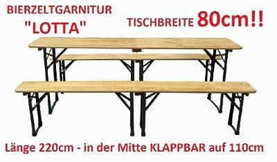 """Klappbare 3tlg. Bierzeltgarnitur """"LOTTA"""" Festzeltgarnitur Sitzgarnitur Bierbank Biertisch NEU/OVP Länge 220cm / Tischbreite 80cm"""