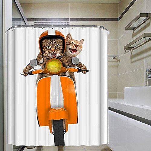 Monsiter Cortina de ducha con la máquina de impresión creativa del gato de la motocicleta Tela de poliéster antibacteriana resistente al agua y a prueba de moho respetuosa del medio ambiente con los ganchos (72 × 72 pulgadas)