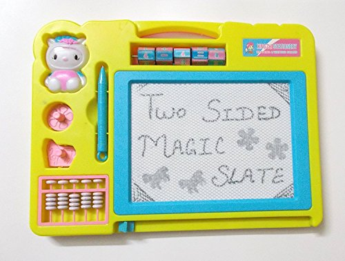 Blossom Two Sided Educational Writing/Drawing Board with Magic Slate and Black Board for Kids, Yellow