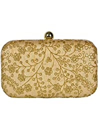 Tooba Handicraft Party Wear Hand Crafted Designer Box Clutch with Elegant Flower Work from Sequence & Golden Thread on Imported Silk Texture Specially Designed for for Parties/Wedding/festivals/Casual and Special Evenings.