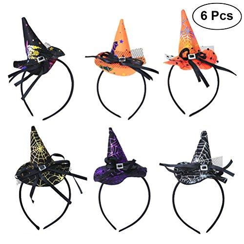 Bestoyard cappelli da strega cerchietti halloween strega halloween props 6 pezzi