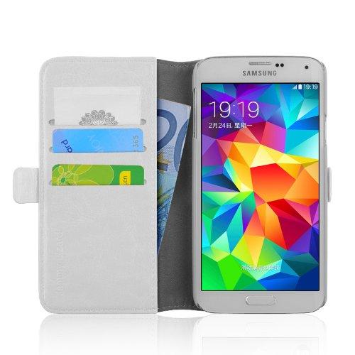 JAMMYLIZARD - Luxuriöse Ledertasche für [ Samsung Galaxy S5 / S5 Neo ] Flip Cover Hülle, CHAMPAGNER WEIß