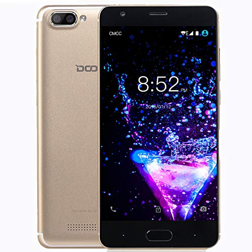 Smartphone Ohne Vertrag, DOOGEE X20 Dual SIM Android 7.0 Handy, 3G Smartphones (5 Zoll HD IPS, MT6580 Quad Core Prozesso, 1GB RAM + 16GB ROM, 5.0MP Kamera, 2580mAh) - Gold