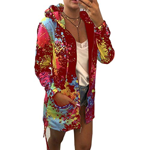 Mantel Jacke Coat Outwear Sweatshirt Parka Hoodie,BOLANQMode Womens Tie Färben Print Coat Outwear Sweatshirt Kapuzenjacke Mantel(XX-Large,Wein) -