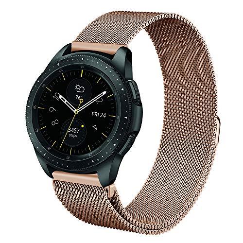 Fintie Armband für Galaxy Watch 42mm / Galaxy Watch Active/Gear Sport/Gear S2 Classic - Edelstahl Milanese Magnet UhrBand Uhrenarmband Ersatzband, Roségold