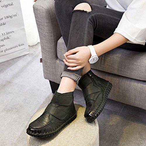 Vogstyle Damen Vintage Handgefertigte Lederstiefel Flach Stiefel Art 1 Grün