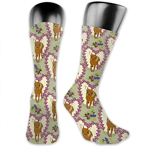White Heart Lace Socken (Little Hart Floral Heart Tan Men's & Womens Athletic Full Crew Socks Running Gym Compression Foot)