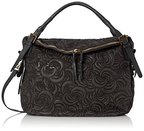 CTM Elegante Handtasche der Frau, Tasche auf Italienisch echtem Wildleder in Italien mit geometrischen Mustern hergestellt 40x30x15 Cm Schwarz (Nero)