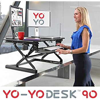 Yo-Yo Desk® 90(BLACK) - Best Selling Height Adjustable Standing Desk [90cm Wide]. Superior sit-stand solution suitable for all workstations and standing desk workplaces.