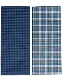 Mandhania Men's 100% Cotton Lungi Assorted Color and ChecksPack of 2 (2.5Mtr.)