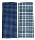 #6: Mandhania Men's 100% Cotton Lungi Assorted Color and Checks Pack of 2 (2.5Mtr.)