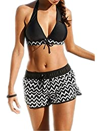 Eagsouni Womens Bikini Top + Surfing Short Two Pieces Swimwear Swimsuit Set Plus Size Push Up Padded Bathing Suit