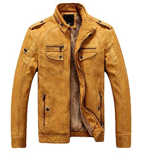 Herren Outdoor Fashion Plus Samt Dick Warm Leder Jacke Kunstleder Mantel yellowish brown-B models