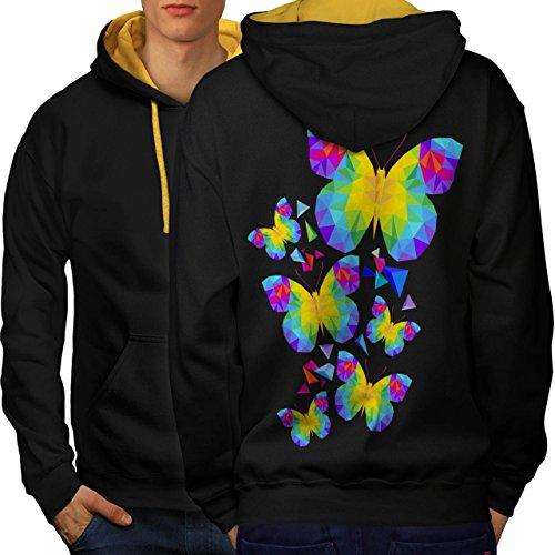 polygonal Schmetterling Frühling Eilen Men M Kontrast Kapuzenpullover Zurück | Wellcoda (Pjs Pyjamas Schmetterling)