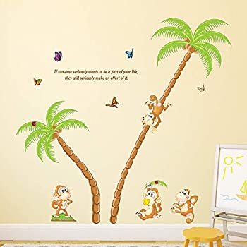 Amazon Brand - Solimo Wall Sticker for Kid's Room (Tree Full of Monkeys, Ideal Size on Wall - 136 cm x 130 cm)