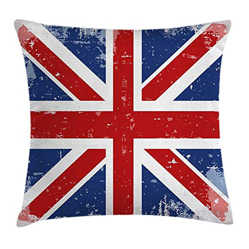 Pillow Cushion Cover, Abstract England London Flag Old Vintage Like Print with Shadow Print, Decorative Square Accent Pillow Case, 18 X 18 inches, Red Navy Blue and White ()