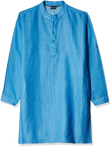 Veda Men's Knee Long Linen Kurta (KL-201-BLUE-XL)