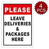 "aspire Premium-Aluminium-Schild Please Leave Deliveries and Packages Here, Assorted/4pcs, 7"" W x 10"" L"