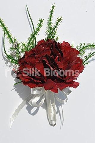 Simple artificiel Soie Rouge bordeaux Carnation Mariage boutonnière Avec Vert fougère