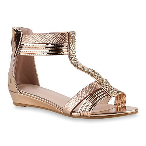 Damen Sandaletten Keilabsatz Metallic Strass Sommerschuhe Wedges Rose Gold Strass