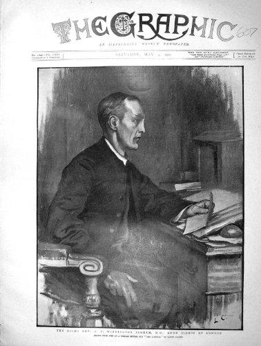 Rev. 1901 de Portrait Winnington Ingram Seigneur Évêque Londres par original old antique victorian print