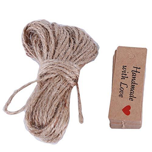 Beiswin 100 stücke Etiketten mit Seil Rechteck