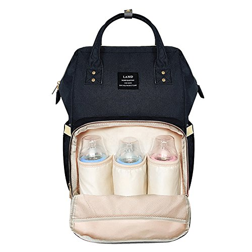 HEYI Baby Wickeltasche Reise Rucksack,Isolierte Tasche, Wasserdicht Stoffe, Multifunktional, Passform für Kinderwage, Große Kapazität Modern Einzigartig Tragbar Handtasche Organizer (Schwarz) (Tote Pocket Side)