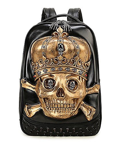 Bookbag Gold (antaina Gold 3D Crown Skull geprägte Rucksack personalisierte Punk Niet PU Laptop Schultasche Bookbag)