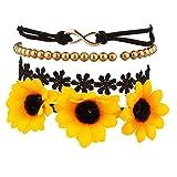 Gifts Flowers Food Best Deals - LUX accesorios Girasol Floral Tela cuentas infinity pulsera de brazo Candy Flower Set
