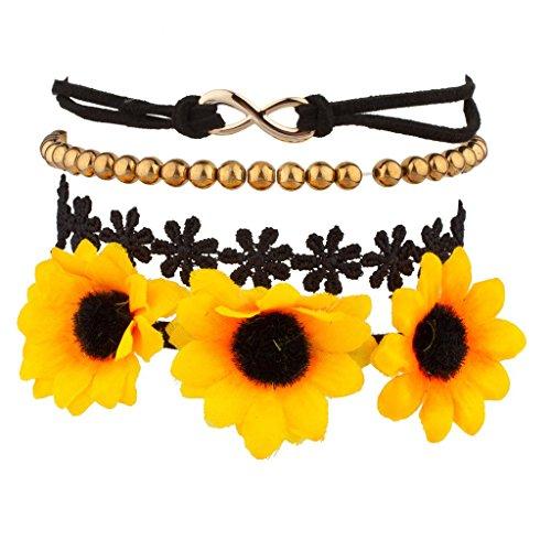 lux-accessories-set-bracciale-motivo-floreale-con-girasoli-in-tessuto-simbolo-dellinfinito-e-perline
