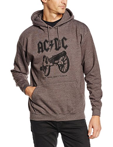 Plastichead Herren Sweatshirt Ac/Dc For Those About To Rock Hsw Grau (Grey)
