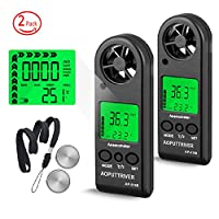 Digital Anemometer Handheld Wind Speed Meter for Measuring Wind Speed,Temperature and Max/Average/Current, High Precision, Measuring for Windsurfing Sailing Fishing Outdoor Activities-AP-816B(2-pack