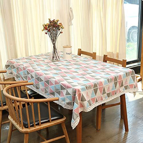 Baumwolle Und Leinen Wasserdichte Tischdecke Nordic Gitter Ins Wind Tee Tisch Picknick Tischset Kleine Frische Schreibtisch Tuch Pulver Dreieck (Wasserdicht) 120X170 Cm (Baby-dusche-papier-tischsets)