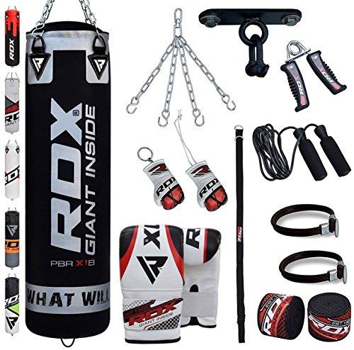 Thai-boxen-ausrüstung (RDX Boxsack Set Gefüllt Kickboxen MMA Kampfsport Muay Thai Boxen mit Deckenhalterung Stahlkette Training Handschuhe 13 PC Schwer 4FT 5FT Punching Bag)