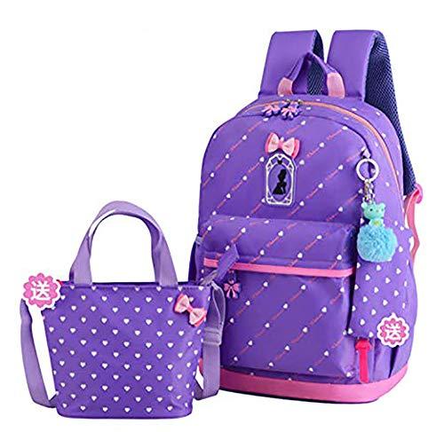 FLHT, Mädchen Schulranzen Rucksack, Wasserdicht Und Leicht 6-10 Jahre Alt Große Kapazität 1-3-4 Klasse Grundschüler Schultasche Reiserucksack,Purple-OneSize -