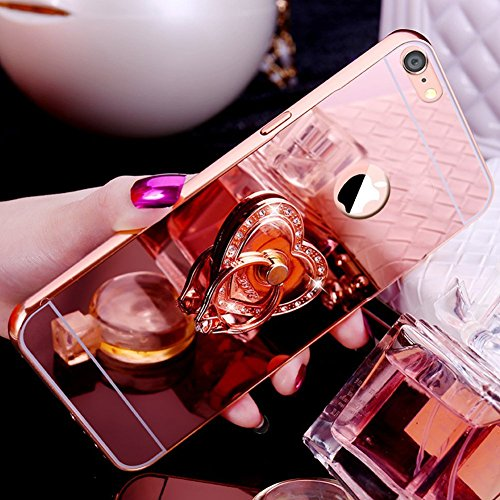 Etsue Glitzer Schutzhülle für iPhone 7/iPhone 8 Strass Diamant Spiegel Handyhülle Hardcase Hartschale Metall Case Cover Handyhülle Hülle, Handmade Glänzend Glitzer Spiegel Hülle Mirror Case Ultra Slim Liebe Herz Rose Gold