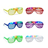 Relaxdays Partybrille mit LED-Licht, leuchtend, Atzenbrille, Accessoire Fasching, Karneval, Gitterbrille, Nerdbrille, verschiedene Farben