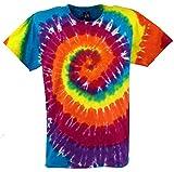 Guru-Shop Regenbogen Batik T-Shirt, Herren Kurzarm Tie Dye Shirt, Spirale 2, Baumwolle, Size:L, Rundhals Ausschnitt Alternative Bekleidung